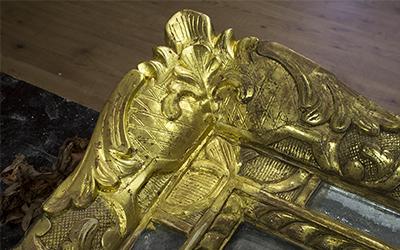 Miroir à parcloses doré Louis XIV