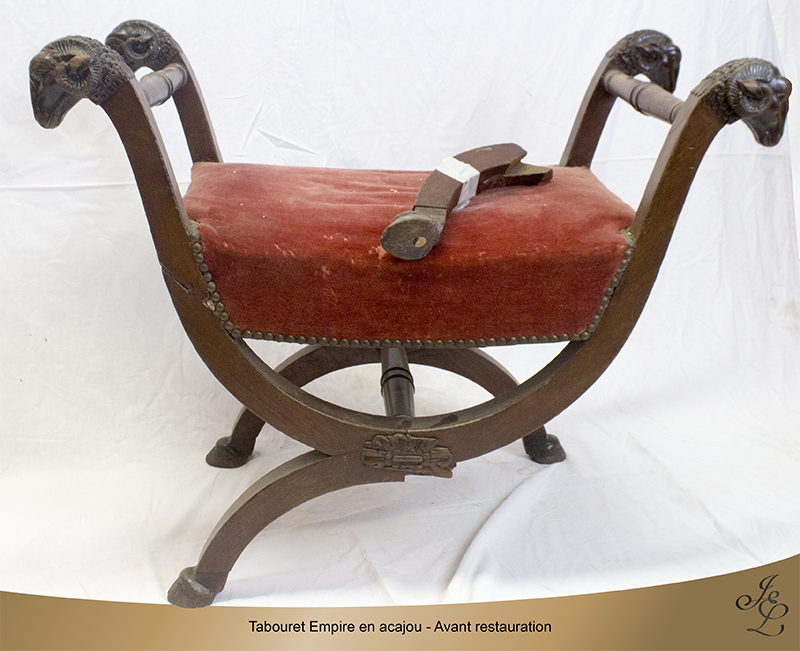 01- Tabouret Empire en acajou - Avant restauration