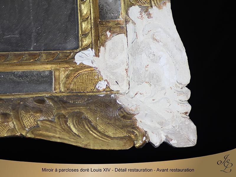 02-Glace dorée à parclose - Détail restauration - Avant restauration