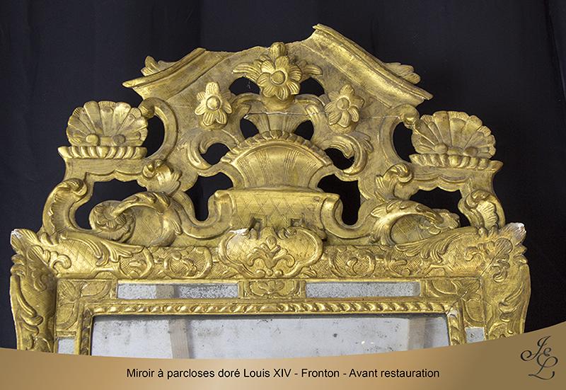 03-Glace dorée à parclose - Fronton - Avant restauration