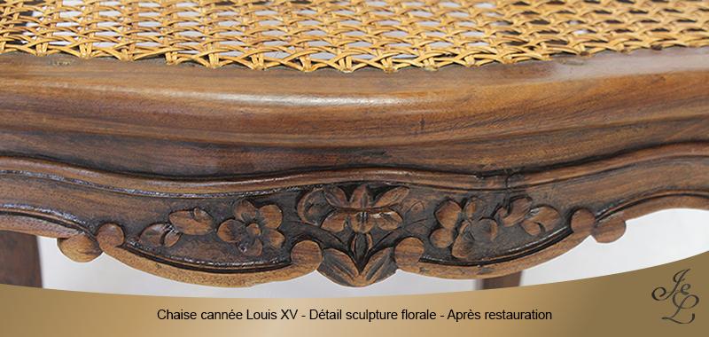 04-Chaise cannée Louis XV détail sculpture florale