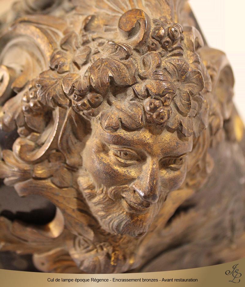 04-Cul de lampe époque Régence - Encrassement bronzes - Avant restauration