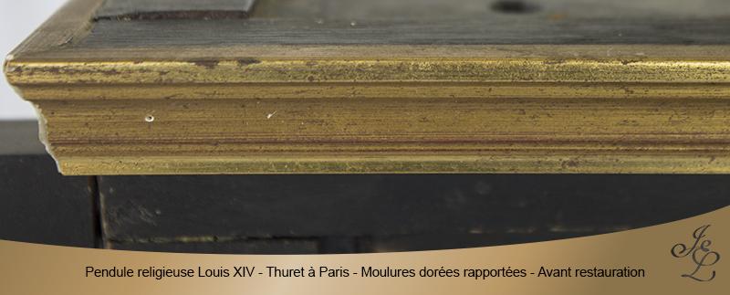 04-Pendule religieuse Louis XIV - Thuret à Paris - Moulures dorées rapportées - Avant restauration