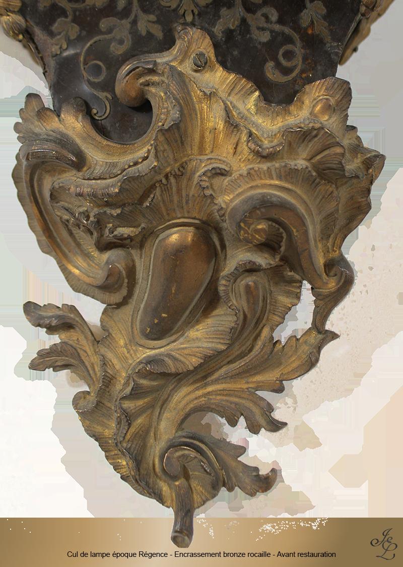05-Cul de lampe époque Régence - Encrassement bronze rocaille - Avant restauration