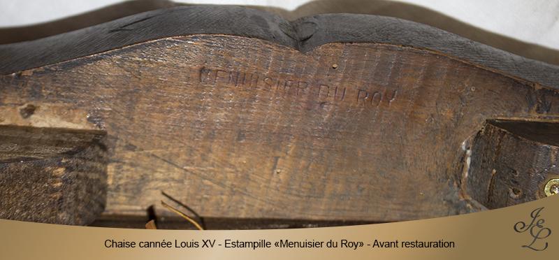 06-Chaise cannée Louis XV estampille menuisier du roy