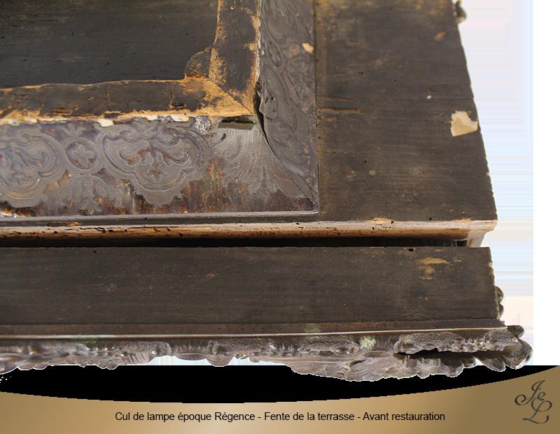 06-Cul de lampe époque Régence - Fente de la terrasse - Avant restauration