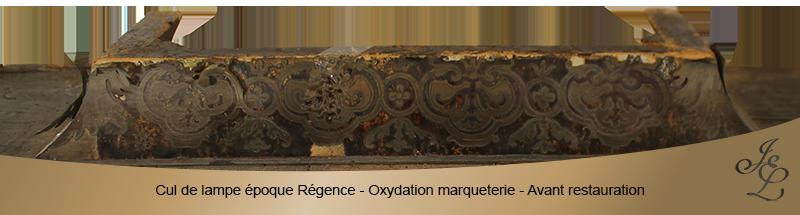 07-Cul de lampe époque Régence - Oxydation marqueterie - Avant restauration