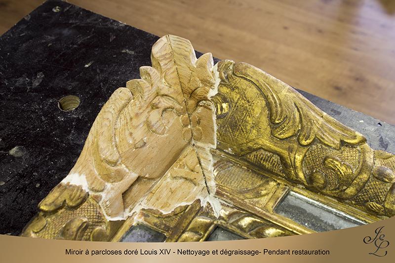 07-Miroir à parcloses doré Louis XIV - Nettoyage et dégraissage- Pendant restauration copie