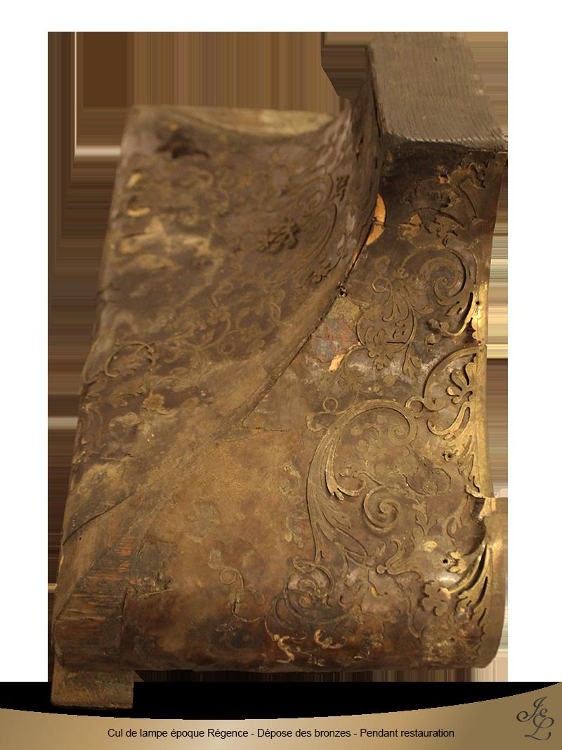 08-Cul de lampe époque Régence - Dépose des bronzes - Pendant restauration