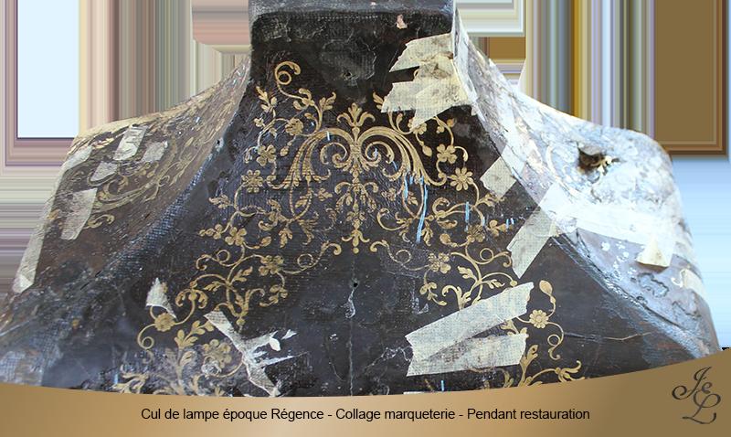 09-Cul de lampe époque Régence - Collage marqueterie - Pendant restauration