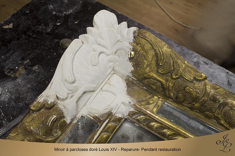 09-Miroir à parcloses doré Louis XIV - Reparure- Pendant restauration
