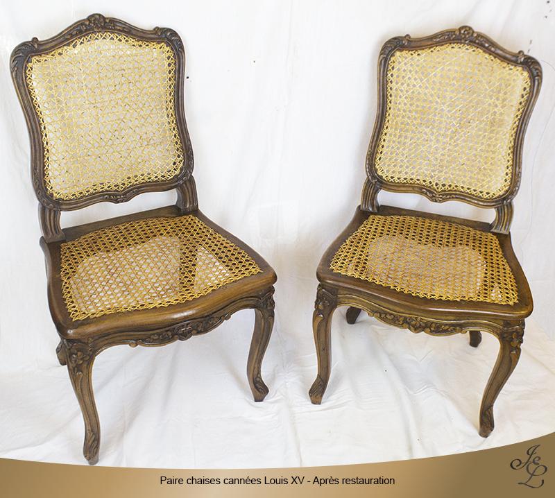 09-Paires chaises cannées Louis XV estampillée