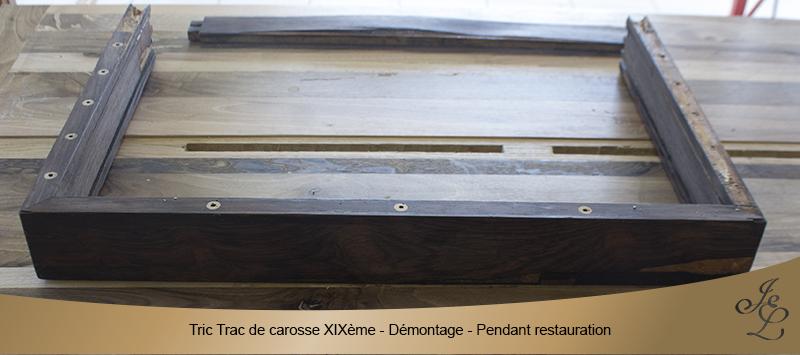 09-Tric Trac de carosse en palissandre démontage pendant restauration