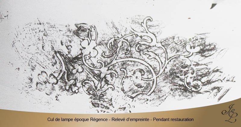 11-Cul de lampe époque Régence - Relevé d'empreinte - Pendant restauration