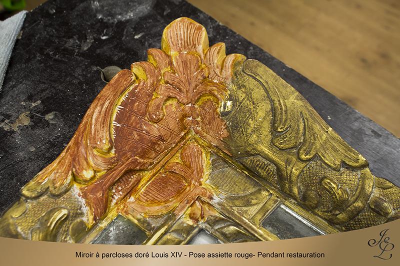11Miroir à parcloses doré Louis XIV - Pose assiette rouge- Pendant restauration