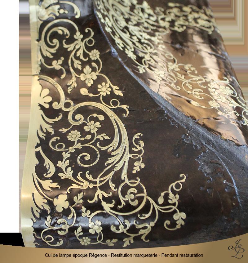 12-Cul de lampe époque Régence - Restitution marqueterie - Pendant restauration