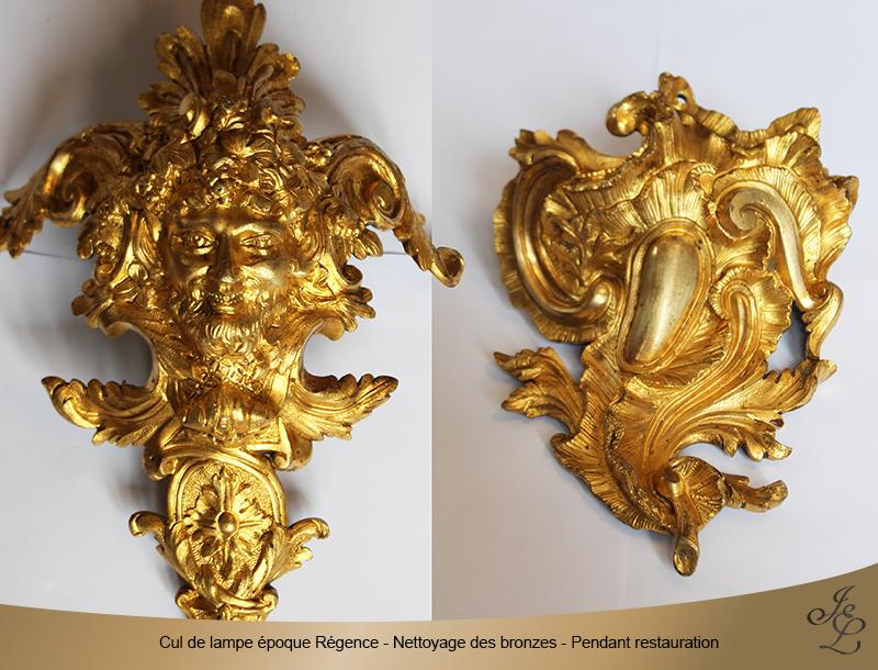 13-Cul de lampe époque Régence - Nettoyage des bronzes - Pendant restauration
