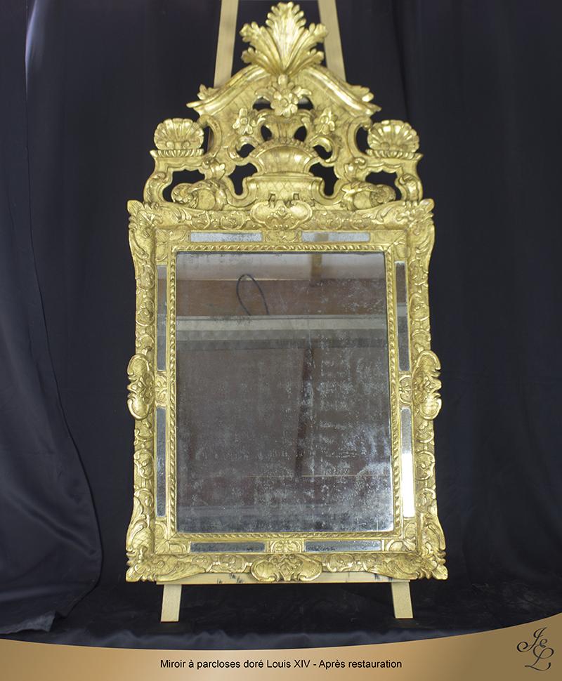 13-Miroir à parcloses doré Louis XIV - Après restauration