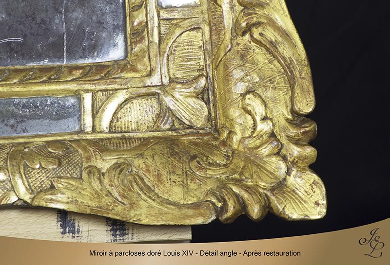 14Miroir à parcloses doré Louis XIV - Détail angle - Après restauration