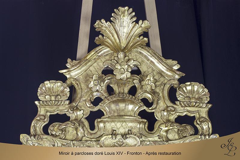 15-Miroir à parcloses doré Louis XIV - Fronton - Après restauration