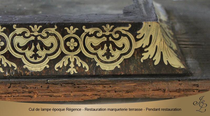 17-Cul de lampe époque Régence - Restauration marqueterie terrasse - Pendant restauration