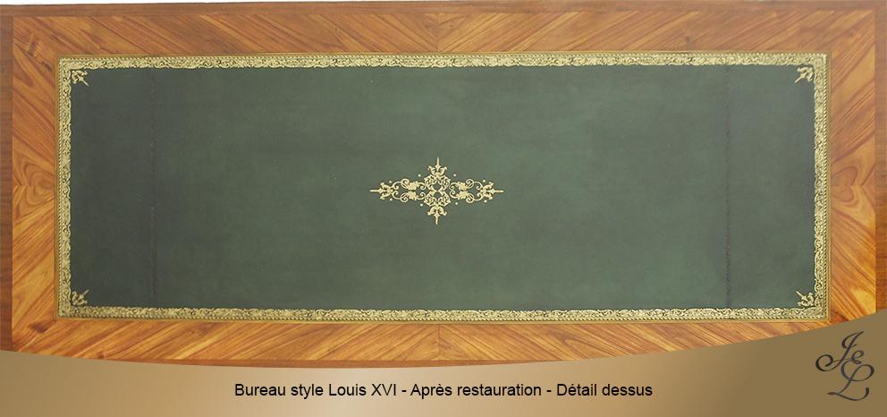 Bureau style Louis XVI - Après restauration - Détail dessus