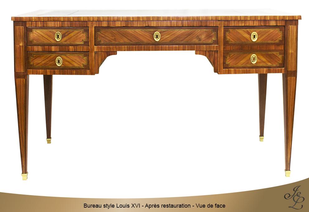 Bureau style Louis XVI - Après restauration - Vue de face