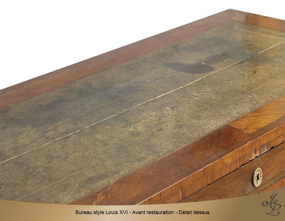 Bureau style Louis XVI - Avant restauration - Détail dessus