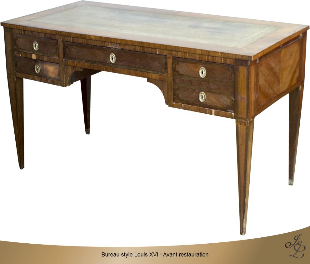 Bureau style Louis XVI - Avant restauration - Vue de face