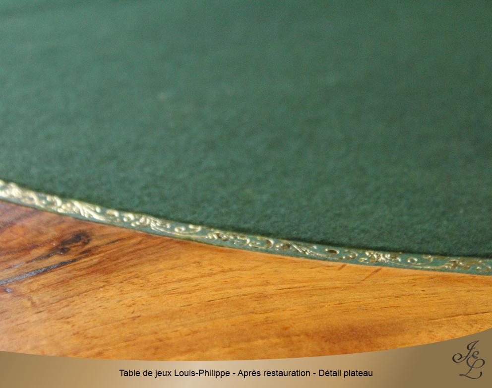 Table de jeux Louis-Philippe - Après restauration - Détail plateau