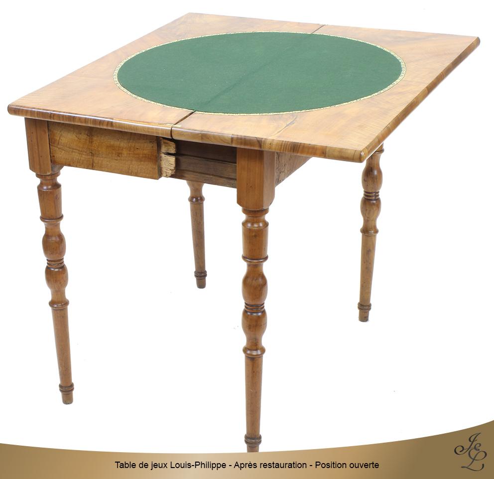 Table de jeux Louis-Philippe - Après restauration - Position ouverte