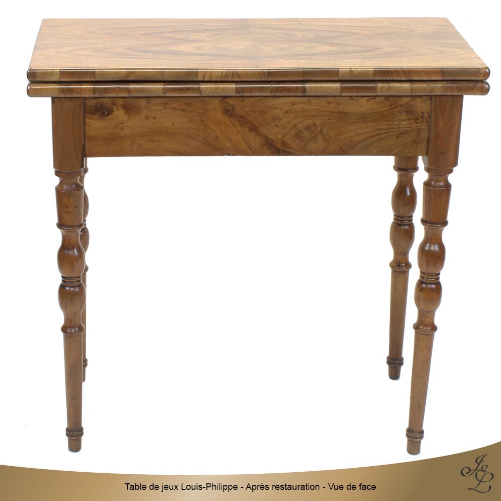 Table de jeux Louis-Philippe - Après restauration - Vue de face
