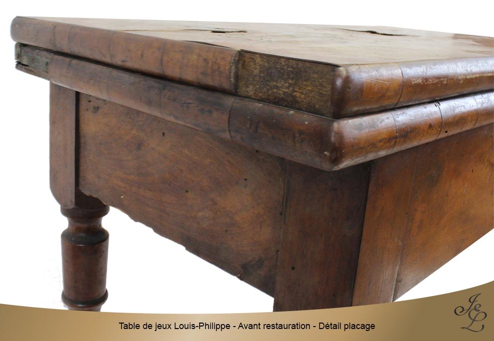 Table de jeux Louis-Philippe - Avant restauration - Détail placage