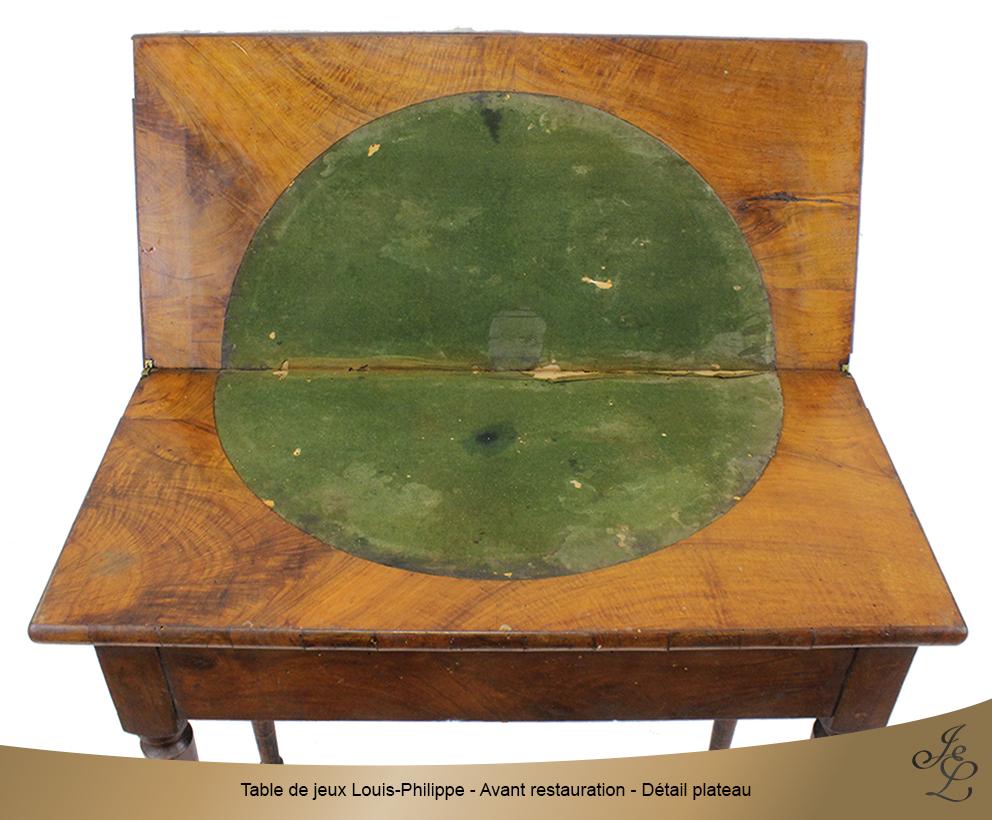 Table de jeux Louis-Philippe - Avant restauration - Détail plateau