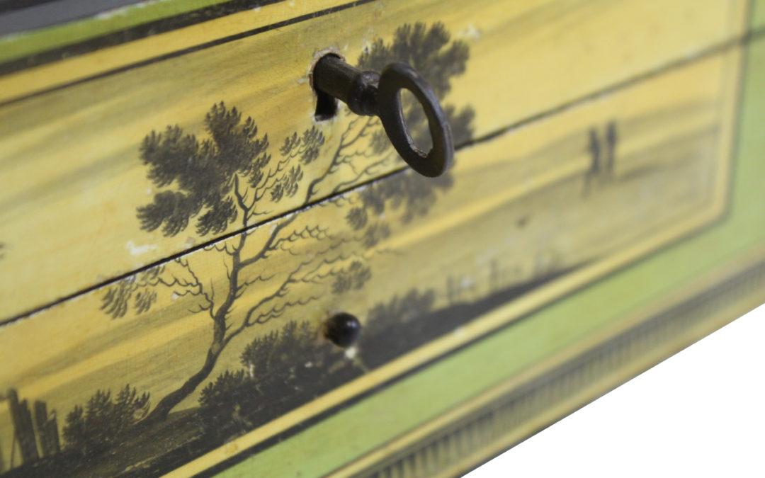 Boîte à tisser peinte XIXème
