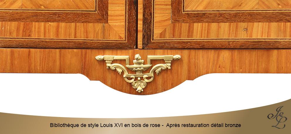 Bibliothèque de style Louis XVI en bois de rose - Après restauration détail bronze