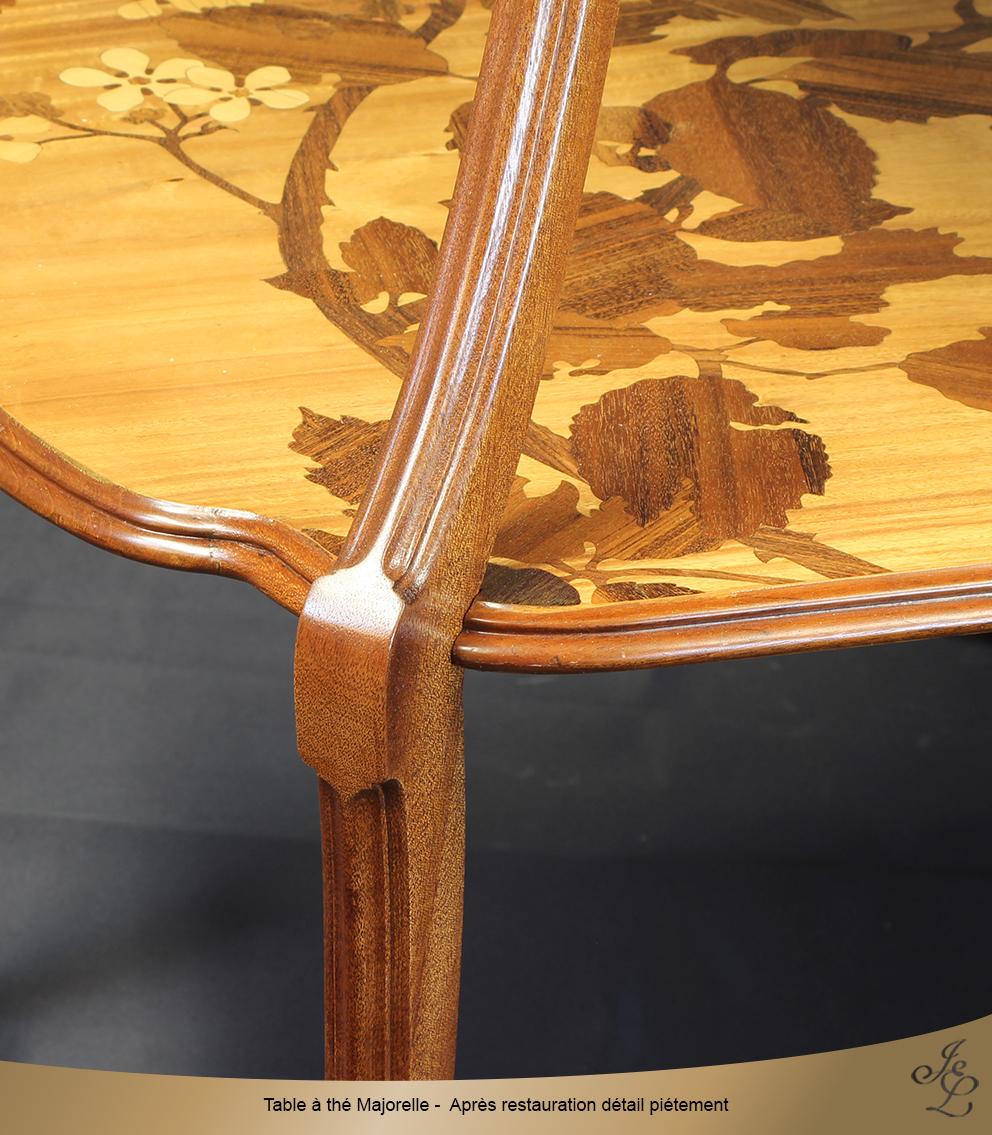 Table à thé Majorelle - Après restauration détail piétement