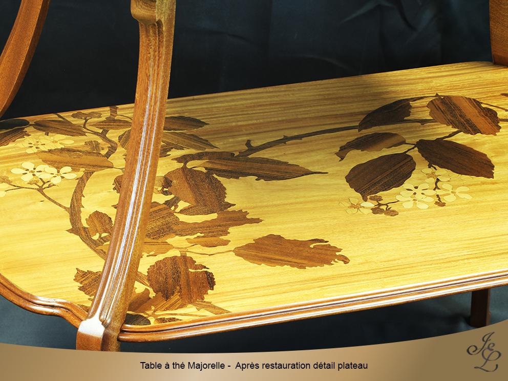 Table à thé Majorelle - Après restauration détail plateau