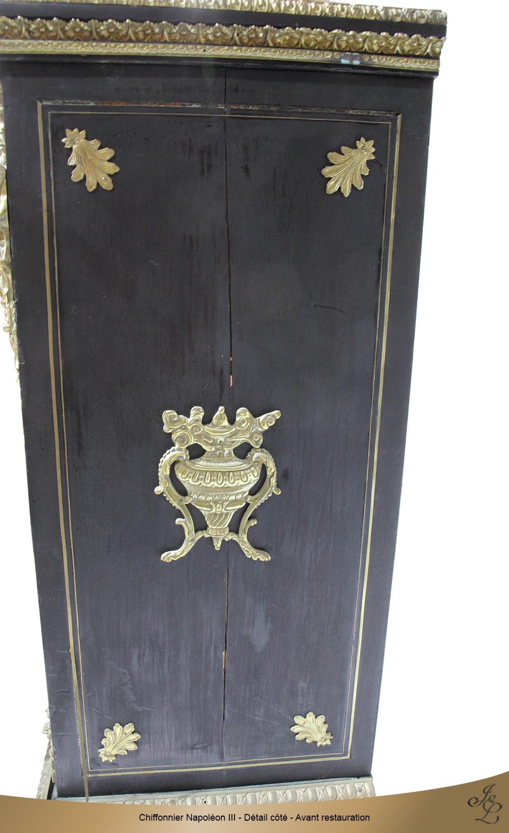 Chiffonnier Napoléon III - Détail côté - Avant restauration