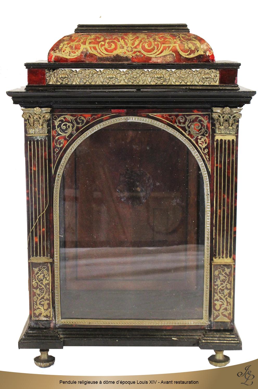 Pendule religieuse à dôme d'époque Louis XIV - Avant restauration