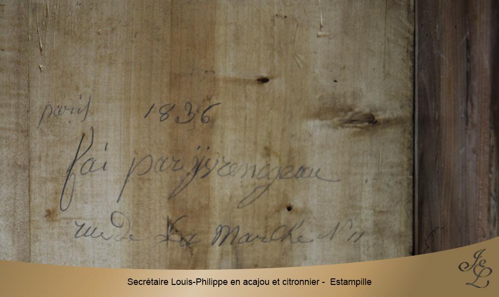 Secrétaire Louis-Philippe en acajou et citronnier - Estampille