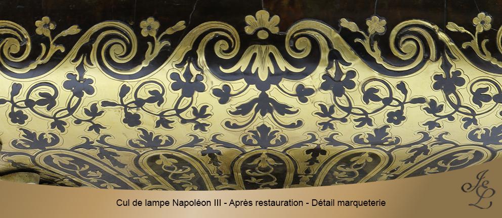 Cul de lampe Napoléon III - Après restauration - Détail marqueterie
