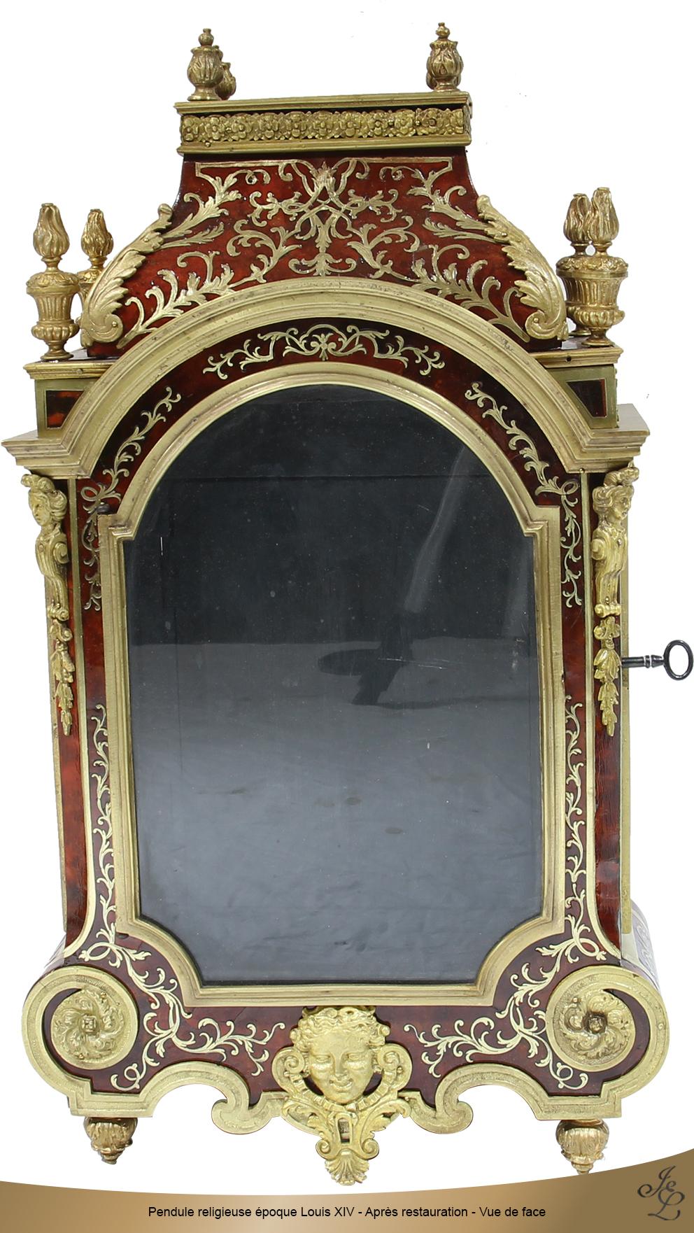 Pendule religieuse époque Louis XIV - Après restauration - Vue de face