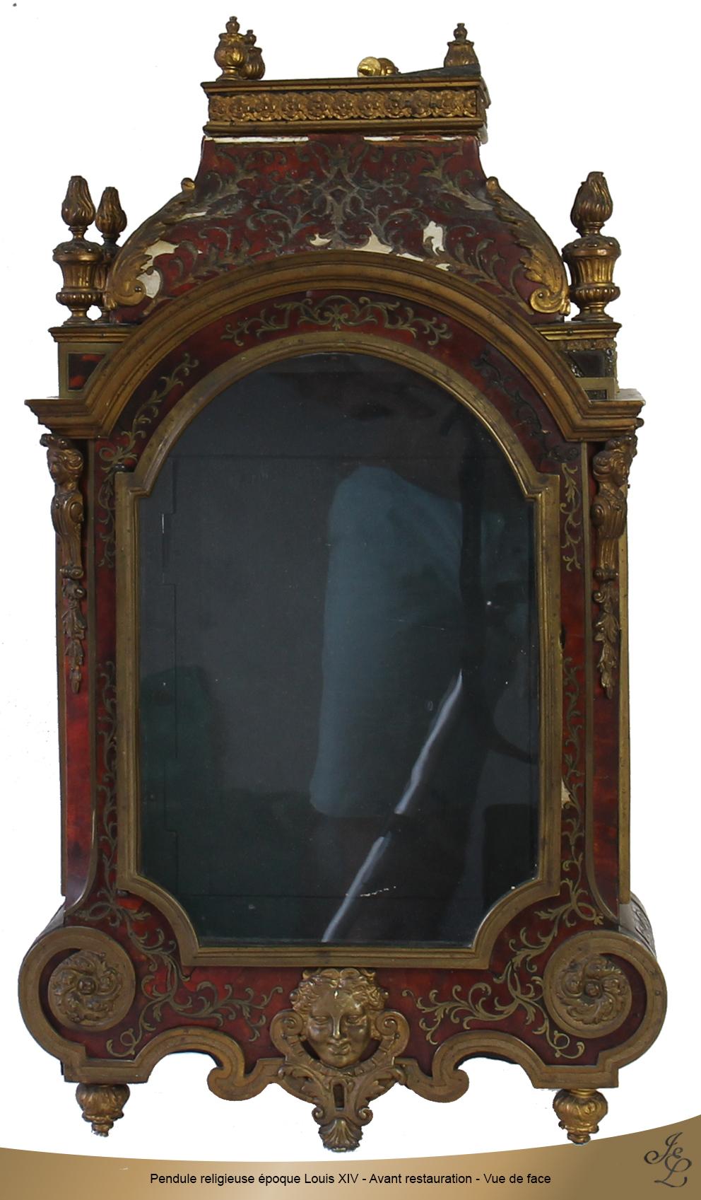 Pendule religieuse époque Louis XIV - Avant restauration - Vue de face
