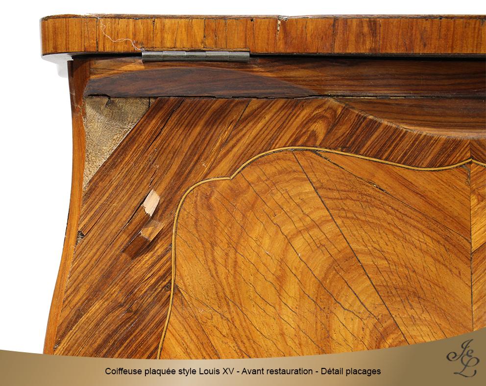 Coiffeuse plaquée style Louis XV - Avant restauration - Détail placages v2