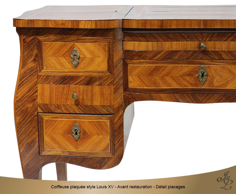 Coiffeuse plaquée style Louis XV - Avant restauration - Détail placages