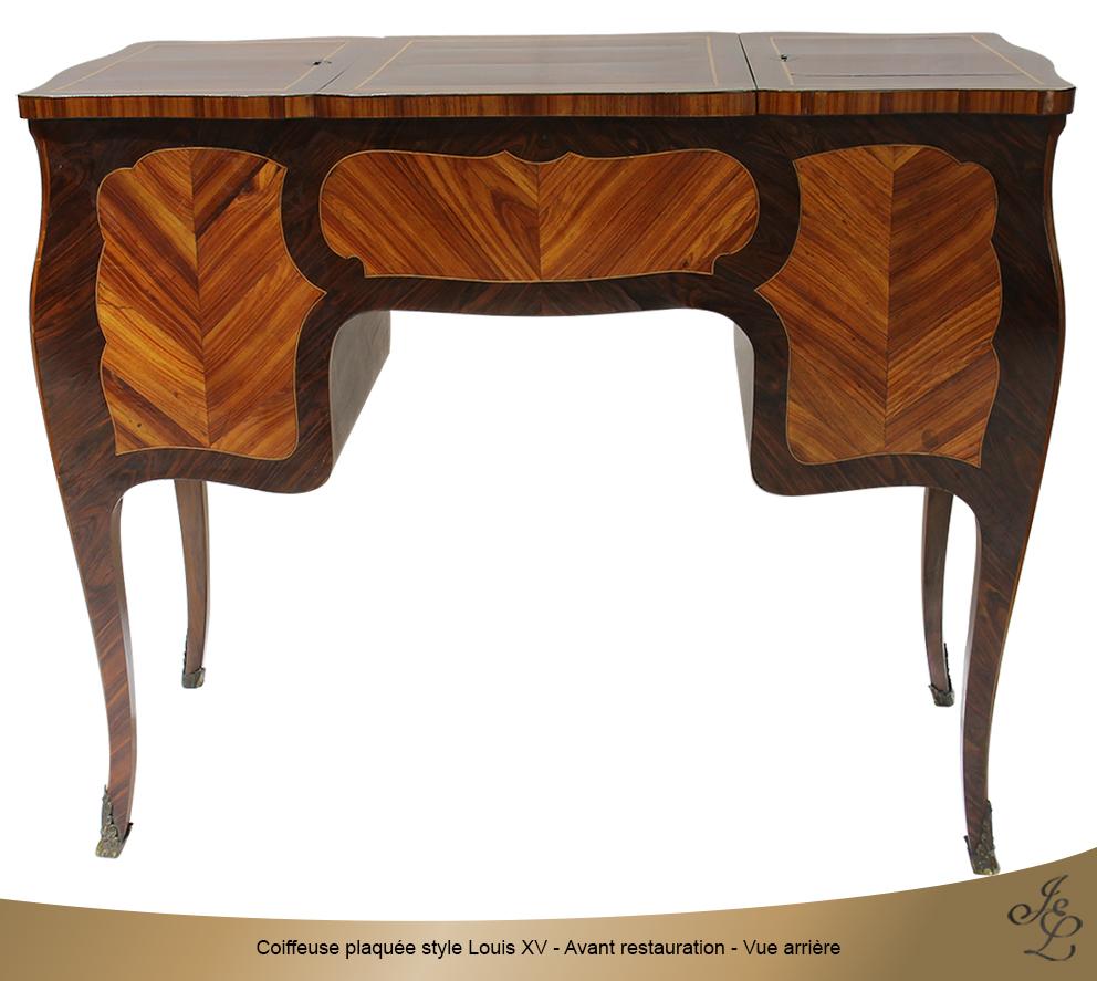 Coiffeuse plaquée style Louis XV - Avant restauration - Vue arrière