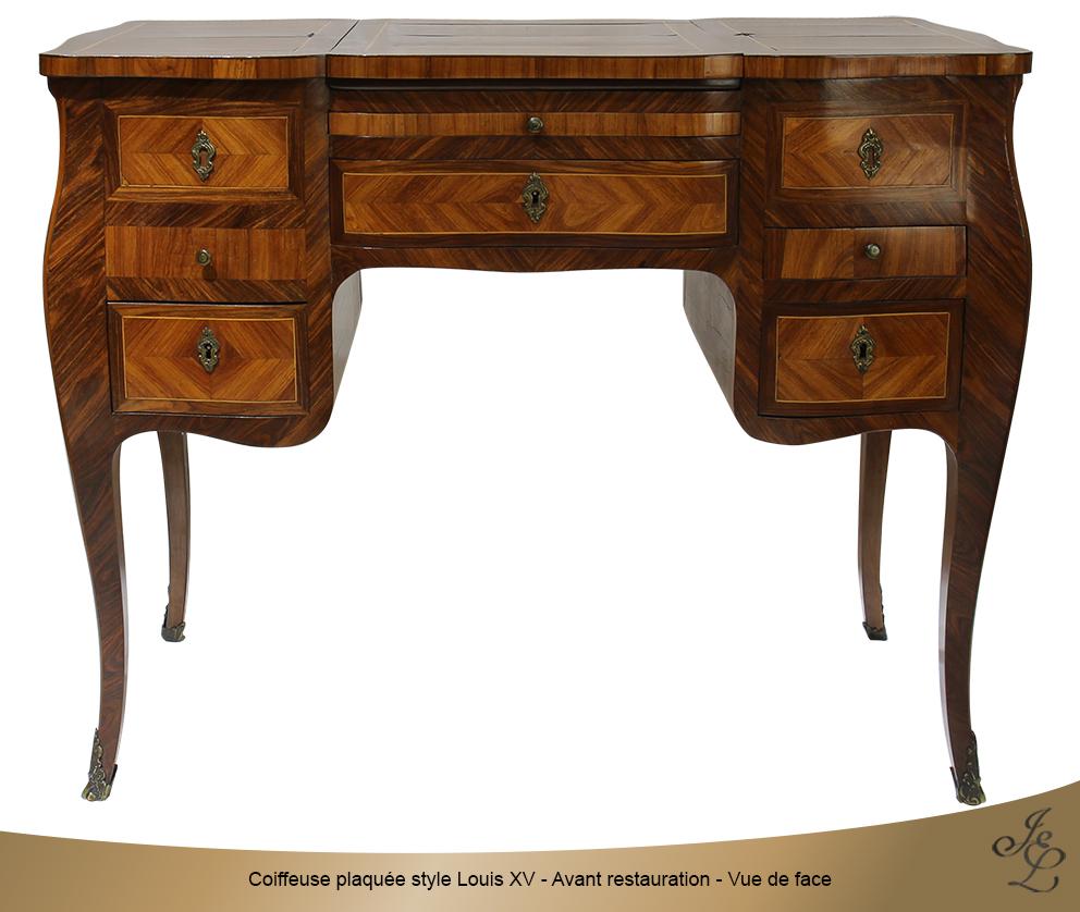 Coiffeuse plaquée style Louis XV - Avant restauration - Vue de face