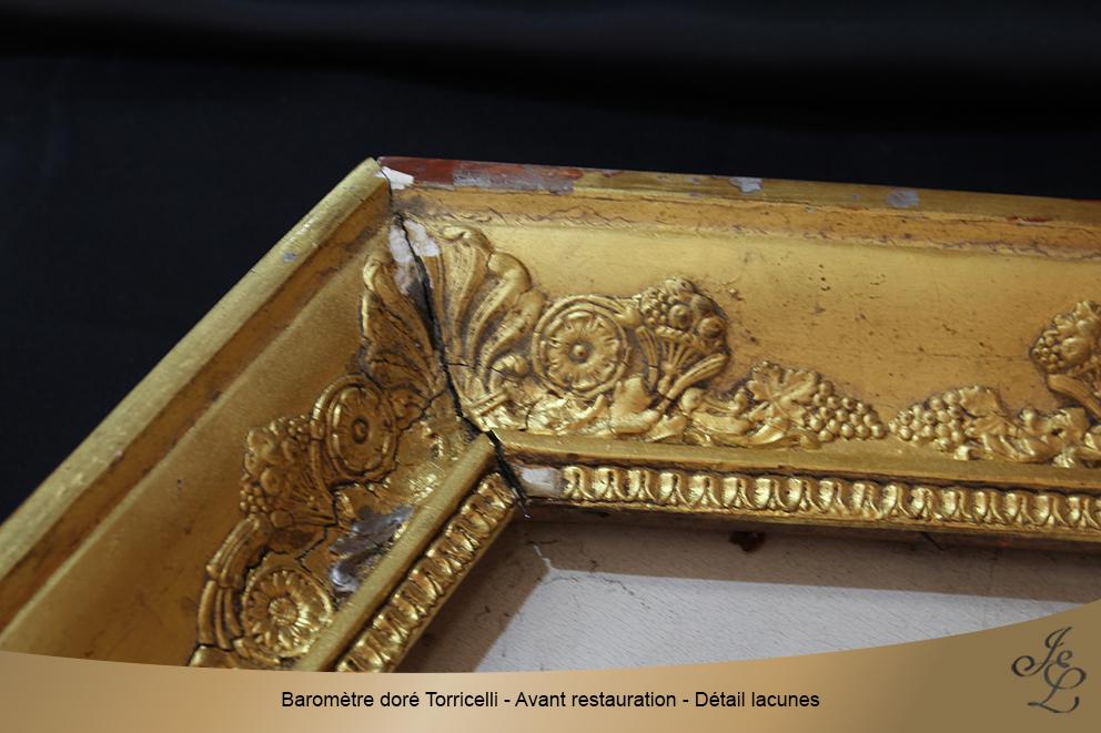 Baromètre doré Torricelli - Avant restauration - Détail lacunes