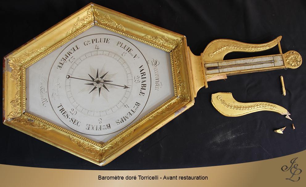 Baromètre doré Torricelli - Avant restauration
